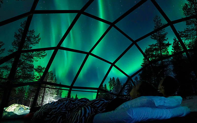 Northern Lights Stay in Glass Igloo